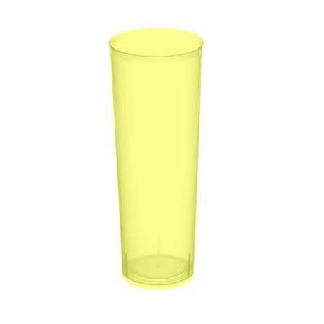 Vasos de Plástico PP Tubo 300ml Inyectado Amarillo Flúor