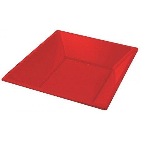 Platos de Plástico PS Hondos Cuadrados Rojos 17cm