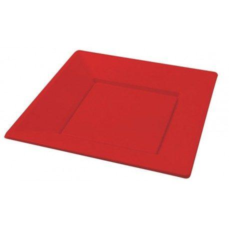 Platos de Plástico PS Cuadrados Rojos 23cm
