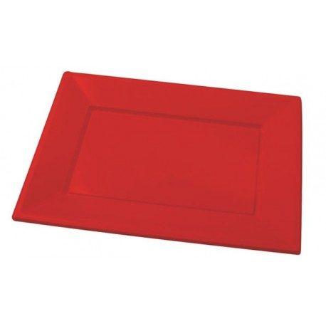 Bandejas de Plástico PS Rojas 33cm x 22,5cm