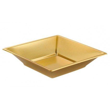 Platos de Plástico PS Hondos Cuadrados Dorados 17cm