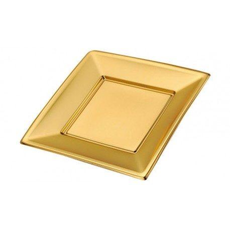 Platos de Plástico PS Cuadrados Dorados 23cm