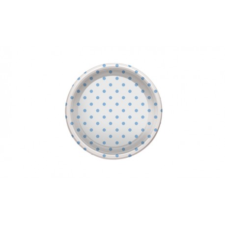 Platos de Plástico PS Postre Lunares Azules 18cm (6 Uds)