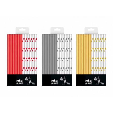 Pajitas de Papel Metalizadas Oro/Plata/Rojo Rectas Ø9mm x 20cm (Paquete 30 Uds)