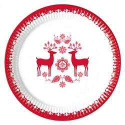 Platos de Cartón Renos Navidad 23cm (8 Uds)
