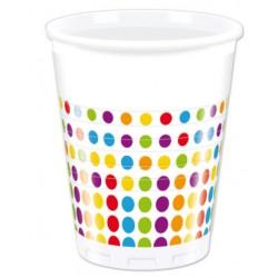 Vaso de Plástico con Lunares 200ml (8 Uds)