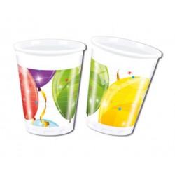 Vaso de Plástico con Globos 200ml (8 Uds)