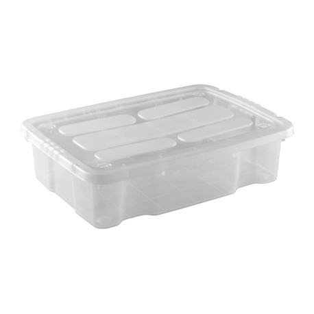 Caja de Plástico con Tapa y Ruedas tipo Bajocama 28 Litros