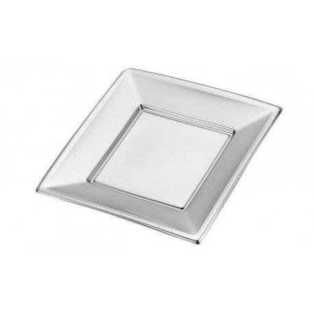 Platos de Plástico PS Cuadrados Plateados 23cm (Caja 192 Uds)