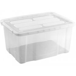 Caja de Plástico con Tapa Transparente 55 Litros