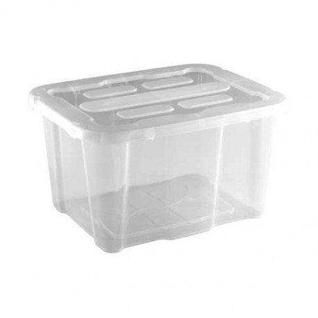 Caja de Plástico con Tapa Transparente 30 Litros