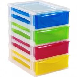 Cajonera de Plástico de 26x35x39 cm y 4 Cajones Colores