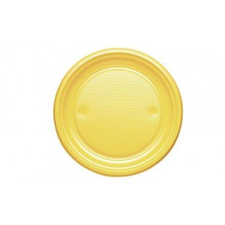 Platos de Plástico PS Amarillos 20,5cm