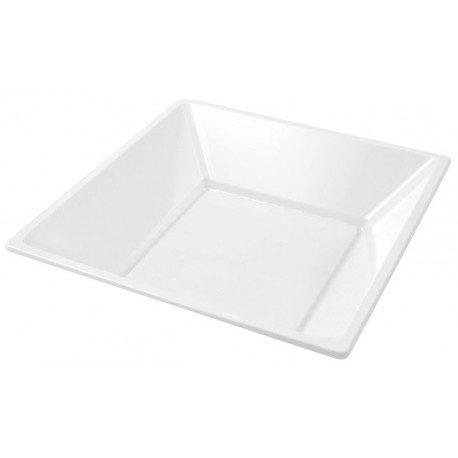 Platos de Plástico PS Hondos Cuadrados Blancos 17cm
