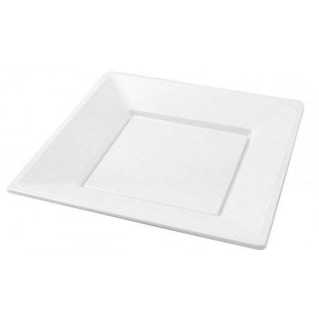 Platos de Plástico PS Cuadrados Blancos 17cm