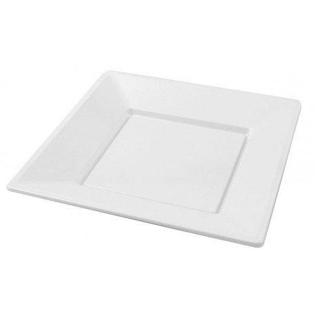 Platos de Plástico PS Cuadrados Blancos 23cm