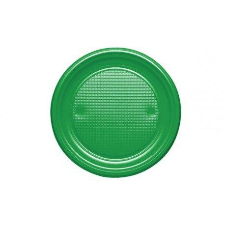Platos de Plástico PS Verdes 20,5cm