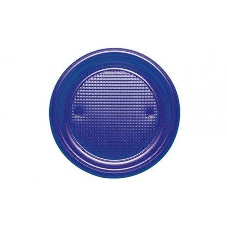 Platos de Plástico PS Azul Marino 20,5cm