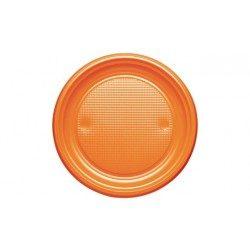 Platos de Plástico PS Naranjas 20,5cm