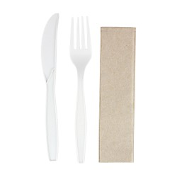 Set de Cubiertos Biodegradables, Tenedor, Cuchillo y Servilleta