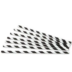 Pajitas de Papel Rayadas Negras Rectas Ø6mm x 20cm
