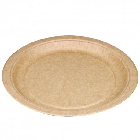Platos Biodegradables de Cartón Kraft 23cm