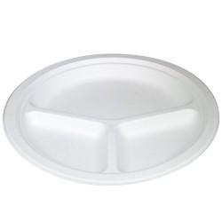 Platos Biodegradables Caña de Azúcar con tres compartimentos 26cm