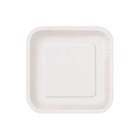 Platos Biodegradables de Cartón Cuadrados Blancos 18cm
