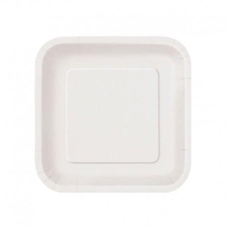 Platos Biodegradables de Cartón Cuadrados Blancos 20cm