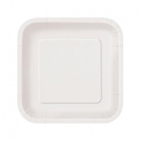 Platos Biodegradables de Cartón Cuadrados Blancos 23cm