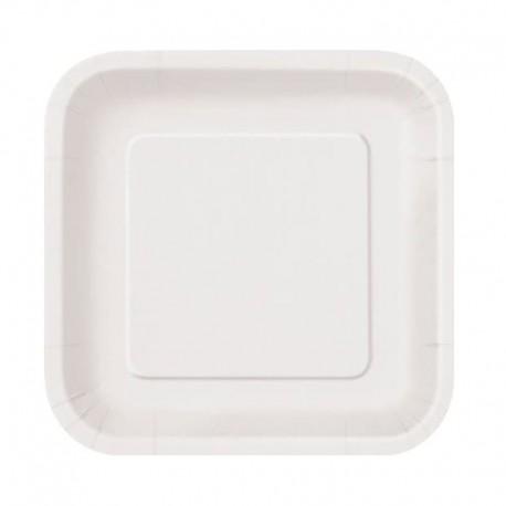 Platos Biodegradables de Cartón Cuadrados Blancos 26cm
