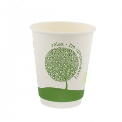 "Vasos Biodegradables de Cartón y PLA ""Relax"" 8Oz/240ml Ø8cm"