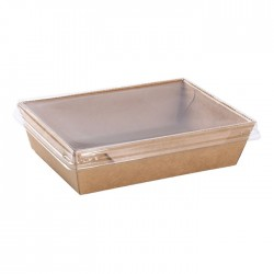 Envases de Cartón Kraft Take Away con Tapa PET 1.200ml