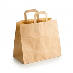 "Bolsas de Papel Kraft con Asas ""Take Away"" 26+17x26cm 80gr"