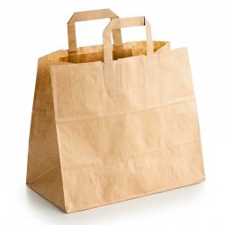 "Bolsas de Papel Kraft con Asas ""Take Away"" Grande 32+22x26cm 80gr"