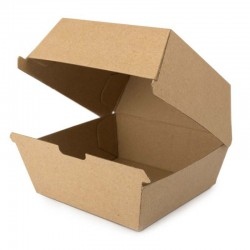 Cajas Hamburguesas Biodegradables Cartón Kraft 15,5 x 13cm