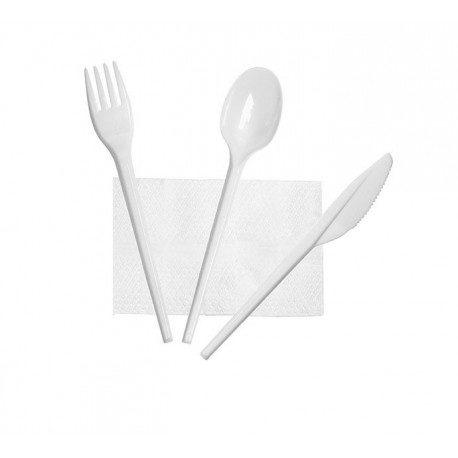 Set de Cubiertos, Tenedor, Cuchara, Cuchillo y Servilleta (Caja 500 Uds)