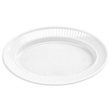 Platos de Plástico Ovalado PS Blancos 180 x 220mm (Caja 720 Uds)
