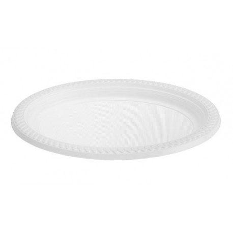 Platos de Plástico Ovalado PS Blancos 270 x 210mm (Caja 720 Uds)