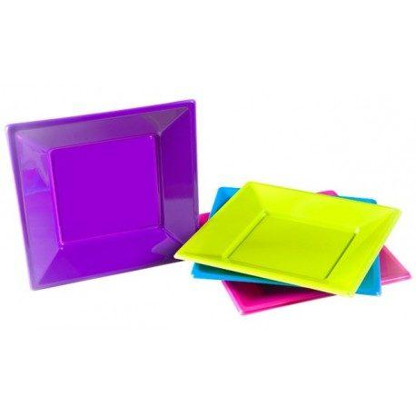 Platos de Plástico PS Cuadrados Colores Surtidos 230mm
