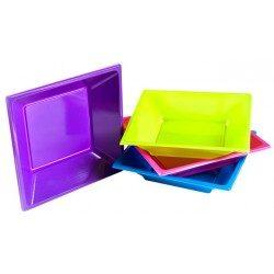 Platos de Plástico PS Cuadrados Hondos Colores Surtidos 17cm (Caja 240 Uds)
