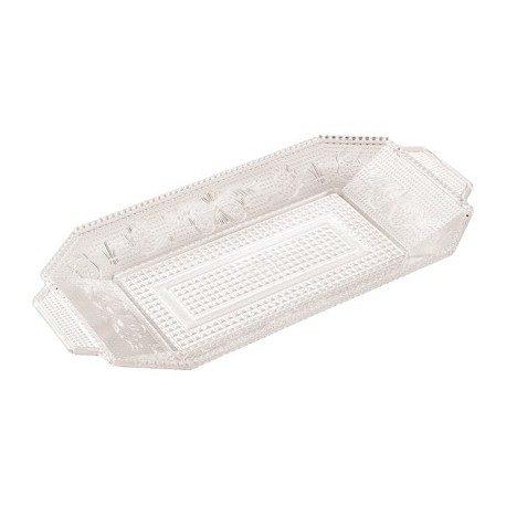Bandejas de Plástico PS Lux Transparentes Reutilizables 28,5 x 14,5 cm