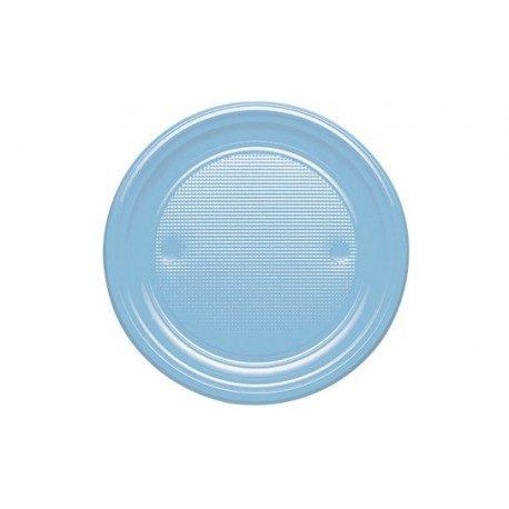 Platos de Plástico PS Azul Baby 205mm