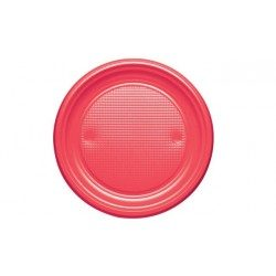 Platos de Plástico PS Rojos 20,5cm