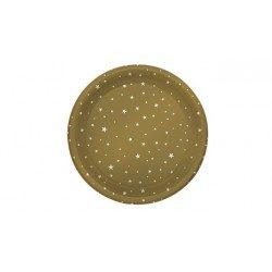 Platos de Plástico PS Llanos Dorados Estrellas 23cm (4 Uds)