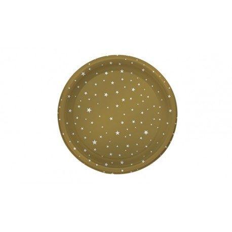 Platos de Plástico PS Llanos Dorados Estrellas 23cm