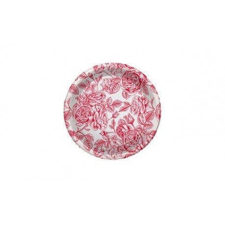 Platos de Plástico PS Postre Rosas Rojas 18cm
