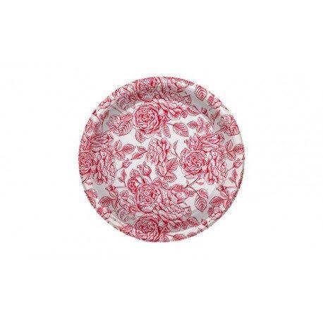 Platos de Plástico PS Llanos Rosas Rojas 23cm