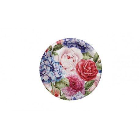 Platos de Plástico PS Postre Rosas Azules 18cm