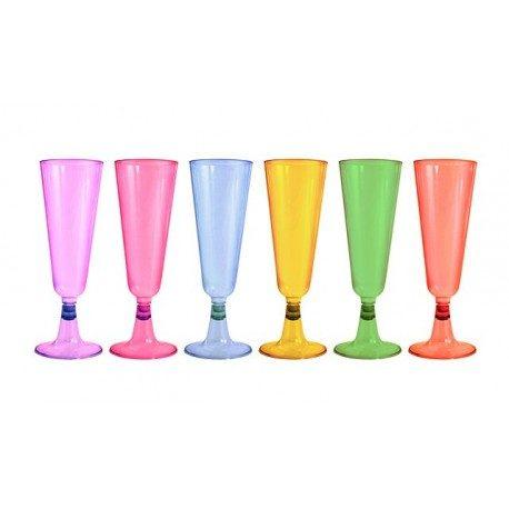 Copas de Cava de Plástico PS Colores Surtidos 150ml